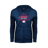ENZA Ladies Navy Fleece Full Zip Hoodie-Jaguars Football In Ball