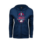 ENZA Ladies Navy Fleece Full Zip Hoodie-Jags Football Tall
