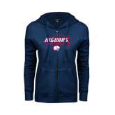 ENZA Ladies Navy Fleece Full Zip Hoodie-Jaguars Football Stacked