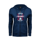 ENZA Ladies Navy Fleece Full Zip Hoodie-Jaguars Baseball Seams