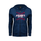 ENZA Ladies Navy Fleece Full Zip Hoodie-Jaguars Softball Seams Horizontal