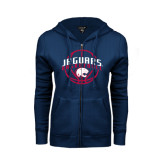 ENZA Ladies Navy Fleece Full Zip Hoodie-Jaguars Basketball In Ball