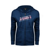ENZA Ladies Navy Fleece Full Zip Hoodie-South Alabama Jaguars Basketball Slanted