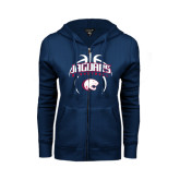 ENZA Ladies Navy Fleece Full Zip Hoodie-Jaguars Basketball Arched In Ball