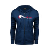 ENZA Ladies Navy Fleece Full Zip Hoodie-Jaguar Head w/ Flat Logo