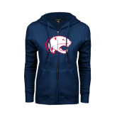 ENZA Ladies Navy Fleece Full Zip Hoodie-Jag Head