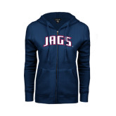 ENZA Ladies Navy Fleece Full Zip Hoodie-Jags Arched