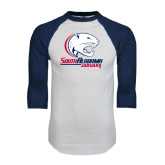 White/Navy Raglan Baseball T-Shirt-Official Logo