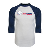White/Navy Raglan Baseball T-Shirt-Jaguar Head w/ Flat Logo