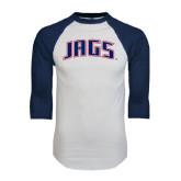 White/Navy Raglan Baseball T-Shirt-Jags Arched