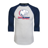 White/Navy Raglan Baseball T-Shirt-Softball