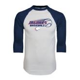 White/Navy Raglan Baseball T-Shirt-Jaguars Baseball Flying Ball