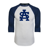 White/Navy Raglan Baseball T-Shirt-SA Baseball Logo