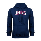 Navy Fleece Hood-Jags Arched