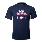Under Armour Navy Tech Tee-Jaguars Basketball Arched In Ball
