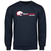Navy Fleece Crew-Jaguar Head w/ Flat Logo