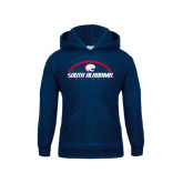 Youth Navy Fleece Hood-South Alabama Football Arched