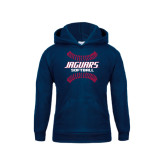 Youth Navy Fleece Hoodie-Jaguars Softball Seams Horizontal