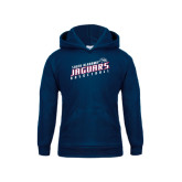 Youth Navy Fleece Hoodie-South Alabama Jaguars Basketball Slanted