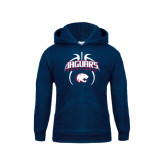 Youth Navy Fleece Hood-Jaguars Basketball Arched In Ball