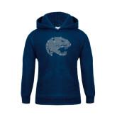 Youth Navy Fleece Hoodie-Jaguar Head Rhinestones