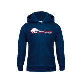 Youth Navy Fleece Hoodie-Jaguar Head w/ Flat Logo