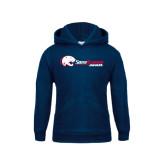 Youth Navy Fleece Hoodie-Jaguar Head w/ Flat Logo