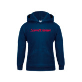 Youth Navy Fleece Hoodie-South Alabama Flat Logo