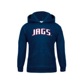 Youth Navy Fleece Hood-Jags Arched