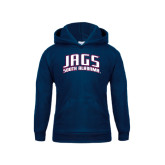 Youth Navy Fleece Hoodie-Jags South Alabama Arched