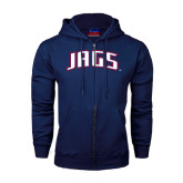 Navy Fleece Full Zip Hood-Jags Arched
