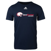 Adidas Navy Logo T Shirt-Jaguar Head w/ Flat Logo
