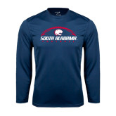 Performance Navy Longsleeve Shirt-South Alabama Football Arched