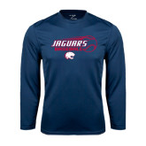 Performance Navy Longsleeve Shirt-Jaguars Baseball Flying Ball