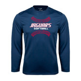 Performance Navy Longsleeve Shirt-Jaguars Softball Seams Horizontal