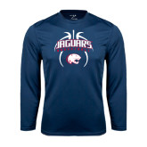 Performance Navy Longsleeve Shirt-Jaguars Basketball Arched In Ball