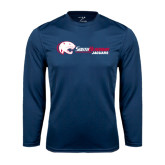 Performance Navy Longsleeve Shirt-Jaguar Head w/ Flat Logo