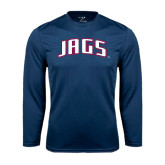 Performance Navy Longsleeve Shirt-Jags Arched