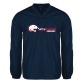 V Neck Navy Raglan Windshirt-Jaguar Head w/ Flat Logo