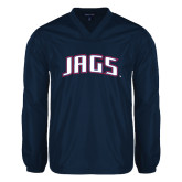 V Neck Navy Raglan Windshirt-Jags Arched