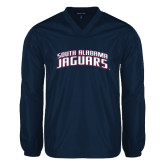 V Neck Navy Raglan Windshirt-South Alabama Jaguars Arched