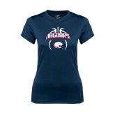 Ladies Syntrel Performance Navy Tee-Jaguars Basketball Arched In Ball