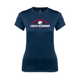 Ladies Syntrel Performance Navy Tee-South Alabama Football Arched