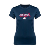 Ladies Syntrel Performance Navy Tee-Jaguars Football Stacked