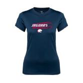 Ladies Syntrel Performance Navy Tee-Jaguars Baseball Flying Ball