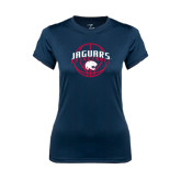 Ladies Syntrel Performance Navy Tee-Jaguars Basketball In Ball