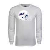 White Long Sleeve T Shirt-Jags Helmet