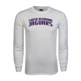 White Long Sleeve T Shirt-South Alabama Jaguars Arched