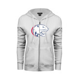 ENZA Ladies White Fleece Full Zip Hoodie-Jag Head