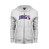 ENZA Ladies White Fleece Full Zip Hoodie-Jags Arched